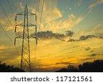 Clouds over an electricity pylon, Gurgaon, Haryana, India - stock photo