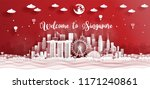 panorama postcard of world... | Shutterstock .eps vector #1171240861