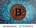 golden bitcoin on the... | Shutterstock . vector #1171242511