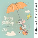 cute birthday mouse with flowers | Shutterstock .eps vector #1171248574