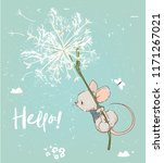 cute birthday mouse flying with ... | Shutterstock .eps vector #1171267021