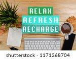office desktop with relax ...   Shutterstock . vector #1171268704