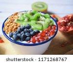 tasty yoghurt with granola ... | Shutterstock . vector #1171268767