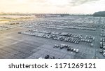 aerial view new cars lined up... | Shutterstock . vector #1171269121