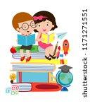 cute kids reading book cute... | Shutterstock .eps vector #1171271551