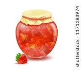 jars of jam. strawberry jam.... | Shutterstock .eps vector #1171283974