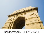 Low angle view of a war memorial, India Gate, New Delhi, India - stock photo