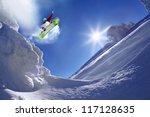 snowboarder jumping against... | Shutterstock . vector #117128635