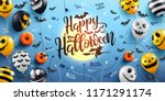 happy halloween lettering and... | Shutterstock .eps vector #1171291174