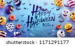 happy halloween background with ... | Shutterstock .eps vector #1171291177