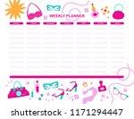 vector weekly planner template... | Shutterstock .eps vector #1171294447