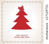red christmas tree retro... | Shutterstock .eps vector #117129751