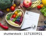 healthy food in heart... | Shutterstock . vector #1171303921