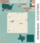 detailed map of archer county... | Shutterstock .eps vector #1171317601