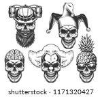 set of skull in fun headwear.... | Shutterstock .eps vector #1171320427