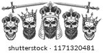 set of skulls in the crowns.... | Shutterstock .eps vector #1171320481