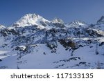 winter scene in Alps mountains from northern Italy - stock photo