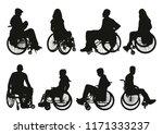 man on a wheelchair silhouette | Shutterstock .eps vector #1171333237