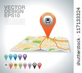 city map icons bus on map. | Shutterstock .eps vector #117133324