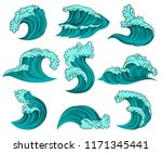 vector set of different sea... | Shutterstock .eps vector #1171345441