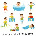 daily routine of cute boy set ... | Shutterstock .eps vector #1171345777