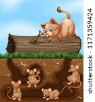 a cat waiting for rat at hole... | Shutterstock .eps vector #1171359424