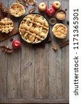homemade apple pies on rustic... | Shutterstock . vector #1171365301