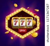 Slot machine lucky sevens jackpot concept 777. Vector casino game. Slot machine with money coins. Fortune chance jackpot. - stock vector