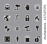black security icons over gray... | Shutterstock .eps vector #117137191