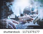 investor analyzing stock market ... | Shutterstock . vector #1171375177
