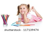 Dreamy Child Girl With Pencils