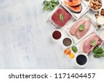 high protein foods. top view... | Shutterstock . vector #1171404457