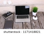 comfortable workplace with...   Shutterstock . vector #1171418821