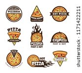 pizza labels. pizzeria logo... | Shutterstock .eps vector #1171422211