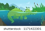 crocodile in water. alligator... | Shutterstock .eps vector #1171422301