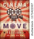 cinema poster. vintage design... | Shutterstock .eps vector #1171422337
