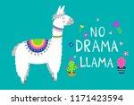 cute llama card with no drama... | Shutterstock .eps vector #1171423594