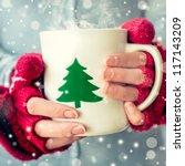 woman holding tea cup. | Shutterstock . vector #117143209