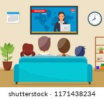 family with cat watching tv... | Shutterstock . vector #1171438234