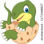 cartoon baby dinosaur hatching | Shutterstock .eps vector #1171448827