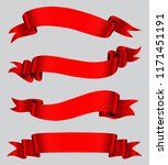 red ribbon banner set.vector... | Shutterstock .eps vector #1171451191