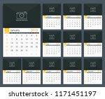 2019 calendar template  week... | Shutterstock .eps vector #1171451197