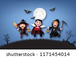 happy halloween party with... | Shutterstock .eps vector #1171454014