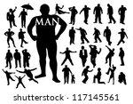 silhouettes of men | Shutterstock .eps vector #117145561