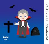 cute boy in vampire costume on... | Shutterstock .eps vector #1171481134