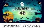 happy halloween poster  night... | Shutterstock .eps vector #1171499371
