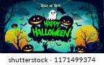 happy halloween poster  night... | Shutterstock .eps vector #1171499374