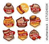 hotdog sandwich emblem design... | Shutterstock .eps vector #1171524034