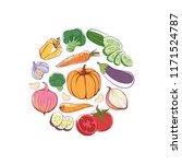 vegan food round concept with... | Shutterstock . vector #1171524787