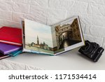 view open book with album at... | Shutterstock . vector #1171534414